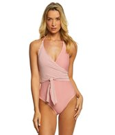 Vince Camuto Sailor Stripe Wrap Tie One Piece Swimsuit