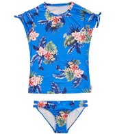 Seafolly Girls' Retro Tropic Short Sleeve Surf Set (Big Kid)