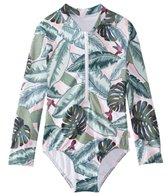 Seafolly Girls' Palm Beach Long Sleeve Surf Tank One Piece Swimsuit (Big Kid)