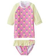Platypus Australia Girls' Sunset Short Sleeve Rash Guard with Bikini Brief (Little Kid, Big Kid)