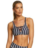 Nautica Mini Stripe Lace Up Bikini Top