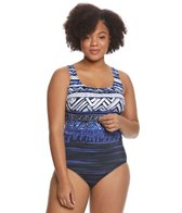 Longitude Plus Size Babaloo Double X-Back One Piece Swimsuit