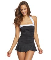 Lauren Ralph Lauren Bel Aire Solid Skirted One Piece Swimsuit