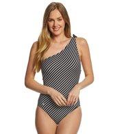 Lauren Ralph Lauren City Stripe One Shoulder One Piece Swimsuit