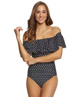 Lauren Ralph Lauren Dot Off The Shoulder One Piece Swimsuit