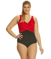 sporti-plus-size-textured-chlorine-resistant-front-twist-colorblock-one-piece-slimsuit
