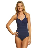 Tommy Bahama Island Sculpt Solid Wrap Halter One Piece Swimsuit