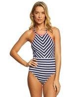 Tommy Bahama Breton Stripe High Neck One Piece Swimsuit