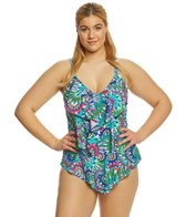 Ceeb Plus Size Wild Flowers Tankini Top