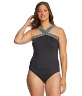 75c748343f2 Kenneth Cole Plus Size Bohemian Babe High Neck One Piece Swimsuit at ...
