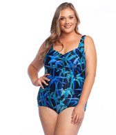 f16d17a1bbd6c Quick view. Maxine Plus Size Bamboo Stripe Shirred Girl Leg One Piece  Swimsuit