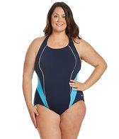 dolfin-womens-plus-size-sporty-color-block-splice-crossover-chlorine-resistant-one-piece-swimsuit
