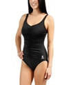 TYR Solid Shirred Front Chlorine Resistant Controlfit One Piece Swimsuit