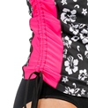 Illusions Activewear Women's Tropical Flower Ruched Rash Guard