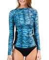 Illusions Activewear Women's Blue Tiger Ruched Rash Guard