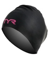 TYR Pink Long Hair Wrinkle Free Silicone Swim Cap