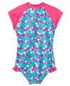 SnapMe Girls' Lucy Very Cherry Ruffle S/S Rash Guard One Piece Swimsuit UVP 50+ (6mos-8yrs)