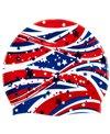 Sporti Starry Stripes Silicone Swim Cap