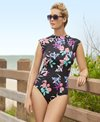 Penbrooke Garden Lily High Neck Cap Sleeve One Piece Swimsuit