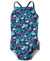 i play. by Green Sprouts Girls' Flamingos One Piece Swimsuit w/Built-in Swim Diaper (Baby, Toddler)