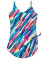 Maxine Plus Size Chlorine Resistant April Showers Wide Strap Sarong One Piece Swimsuit