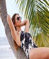 Carmen Marc Valvo Splash Noir High Neck One Piece Swimsuit