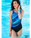 Reebok Women's Glowing Strong High Neck Chlorine Resistant One Piece Swimsuit