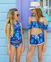 Snapper Rock Girls' Rain Forest Off Shoulder Two Piece Bikini Set (Big Kid)