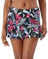Tommy Bahama Women's Midnight Orchid Flutter Swim Skirt