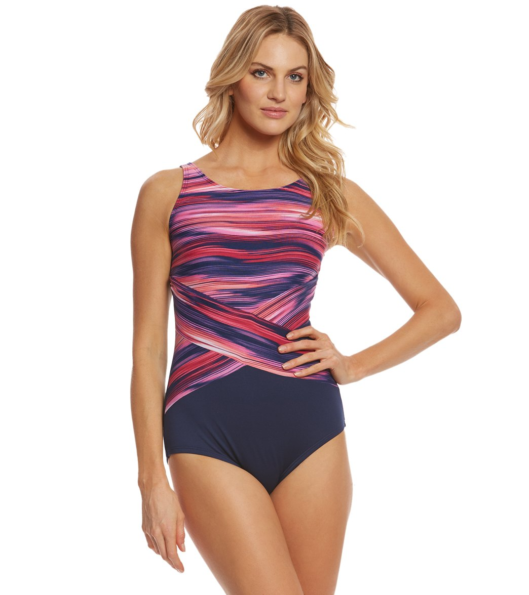 a5ed317609 High Neck Cross One Piece Swimsuit ...