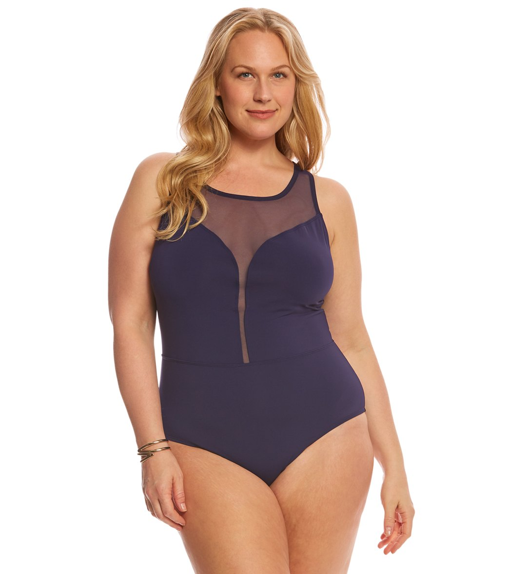 2c34df8898d Mesh Plus Sized Swimwear. BLEU Rod Beattie Plus Size Cruise Control High  Neck Mesh Plunge One Piece Swimsuit