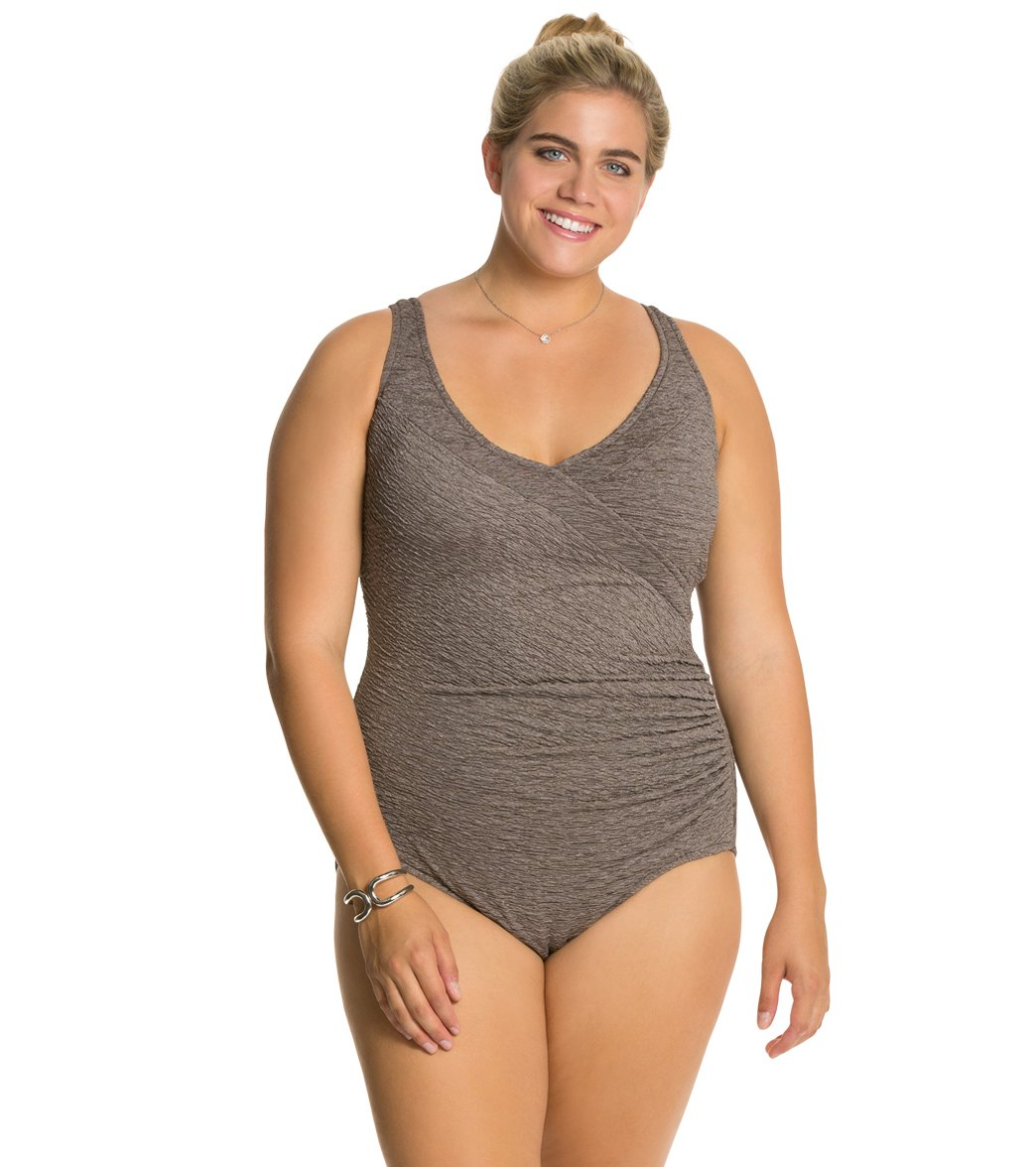 d63e6a094f Rauched Plus Sized Swimwear. Penbrooke Plus Size Krinkle Mock Surplice  Chlorine Resistant One Piece Swimsuit. Layered Patterns