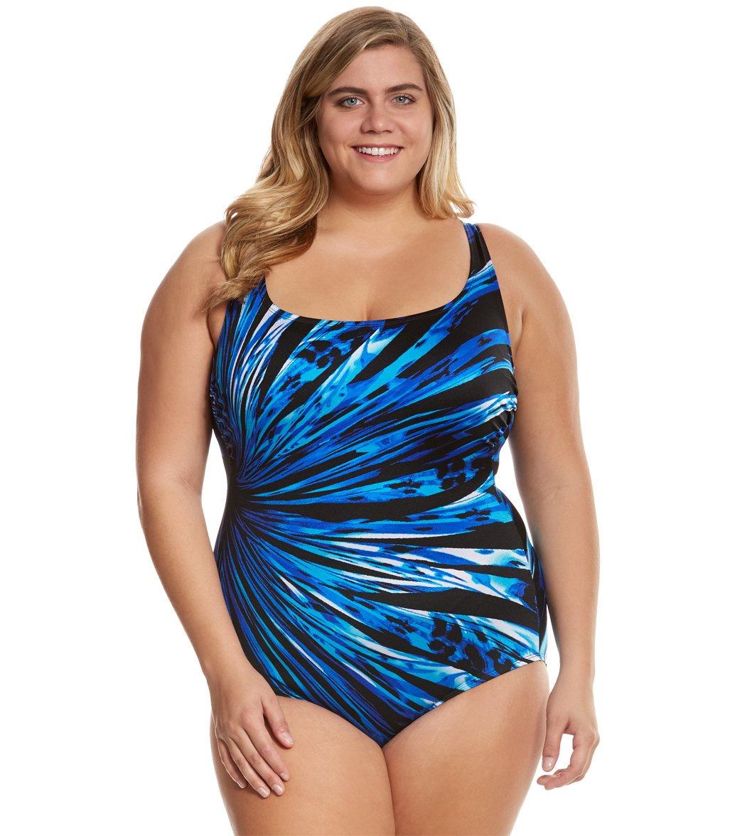 87f37ad3044 Layered one piece swimsuit One Piece Plus Size Swimsuit ...