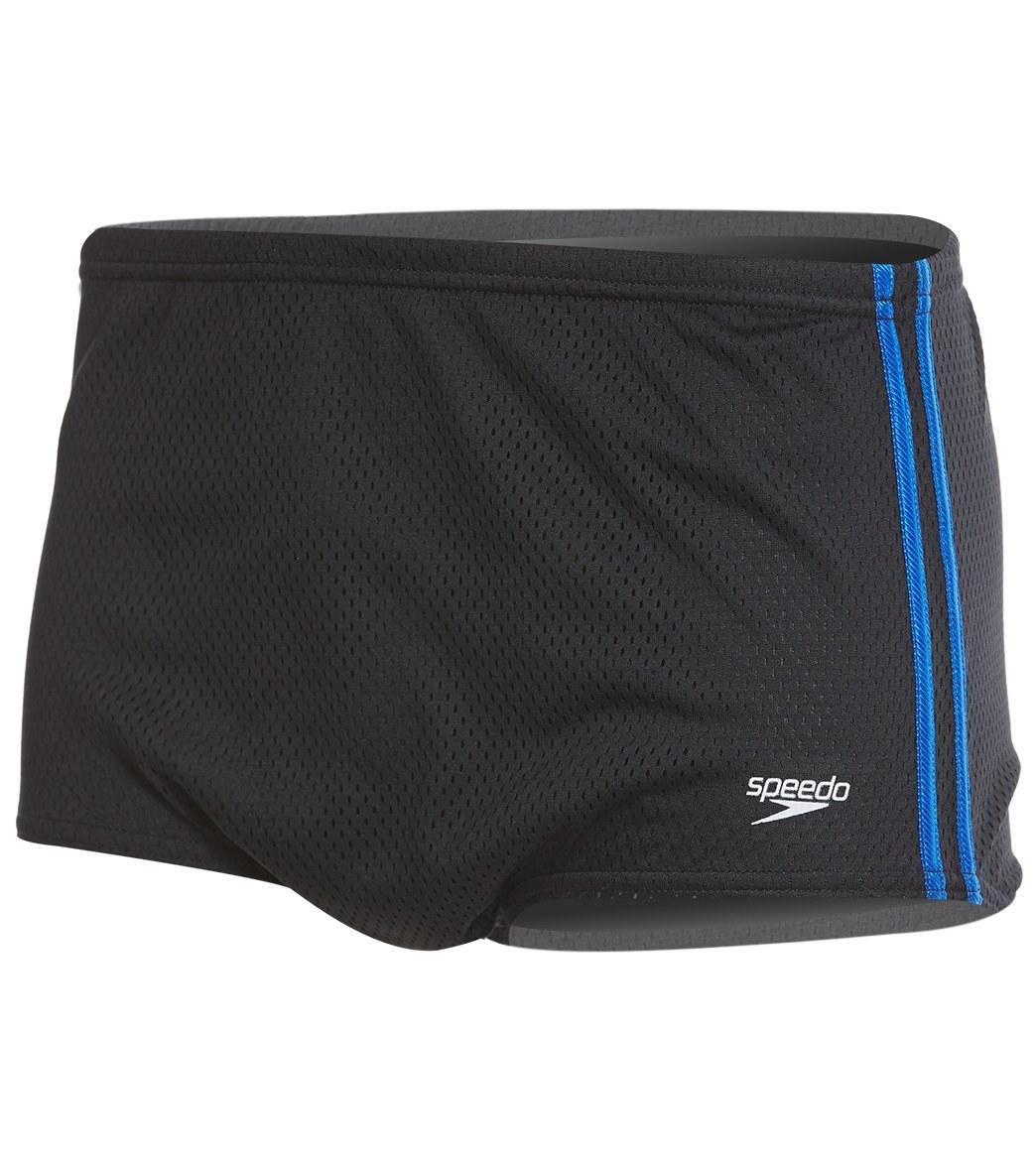 Speedo Solid Poly Mesh Square Leg Swimsuit