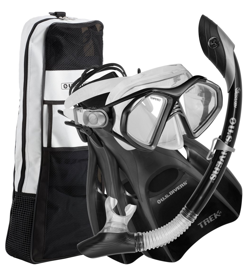 u s divers admiral lx island dry trek travel bag mask snorkel and