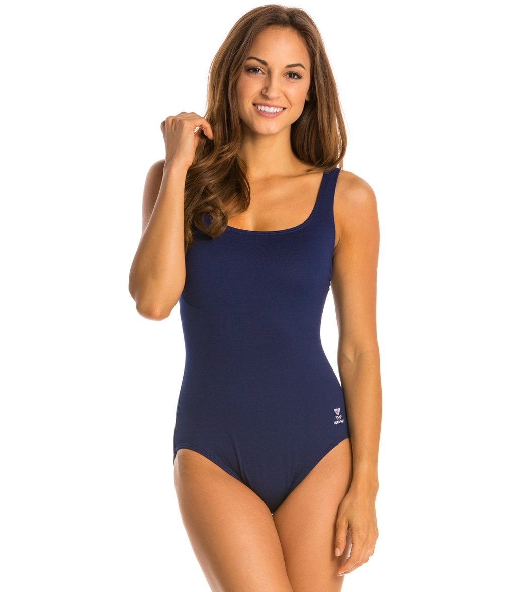 fb2818f441 TYR Solid Aqua Chlorine Resistant Controlfit One Piece Swimsuit at  SwimOutlet.com - Free Shipping