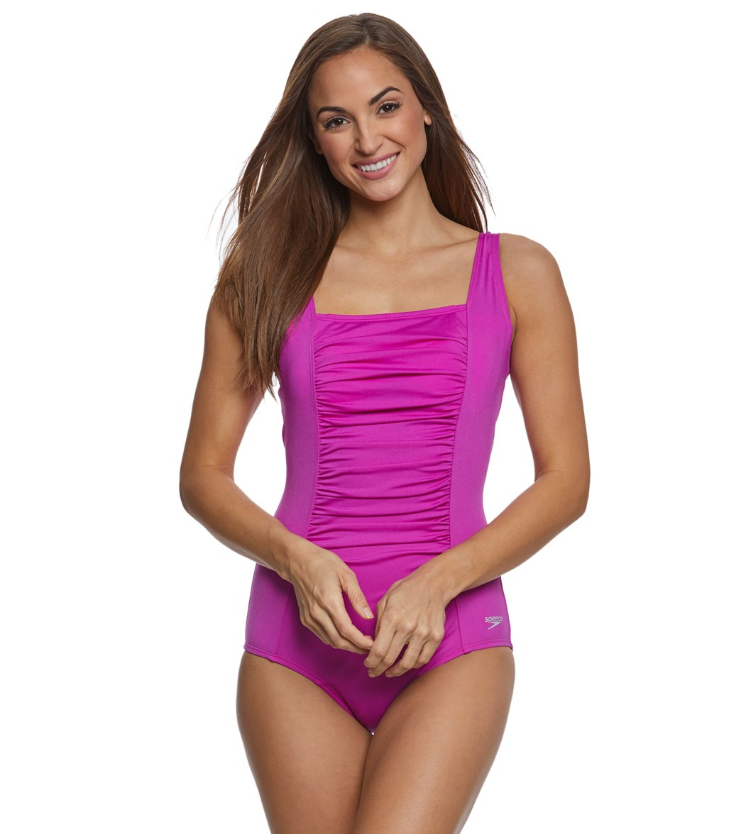 Speedo Womens Shirred Chlorine Resistant Tank One Piece Swimsuit At
