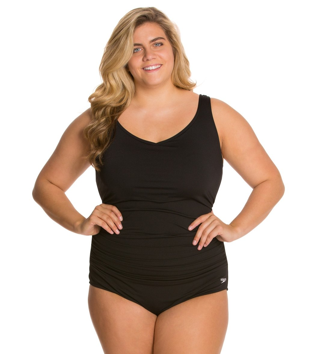 Speedo Endurance Side Shirred Contourback Plus Size One Piece Swimsuit