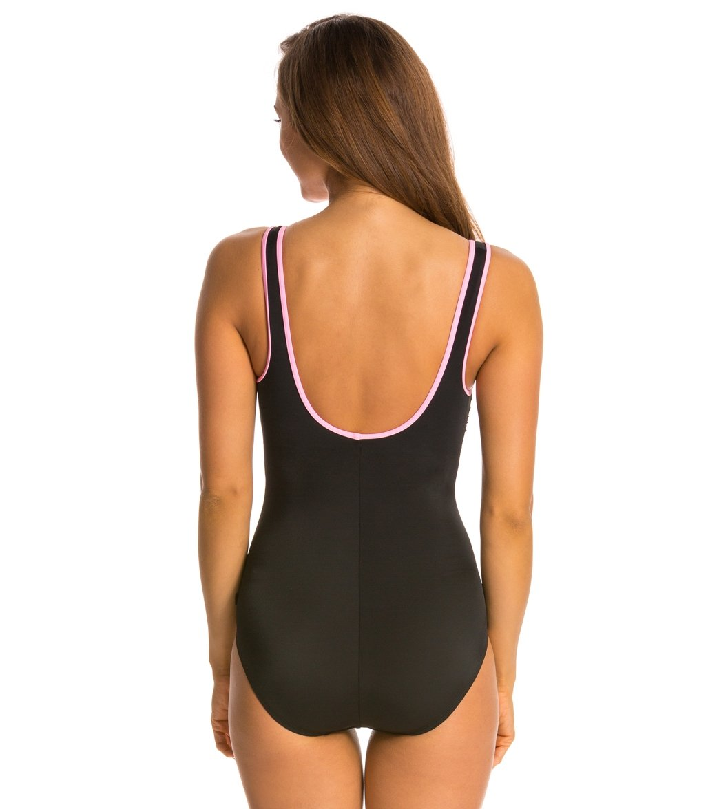 99a0691106784 Reebok Fitness Swim Zig Zag U-Back Tank Chlorine Resistant One Piece  Swimsuit