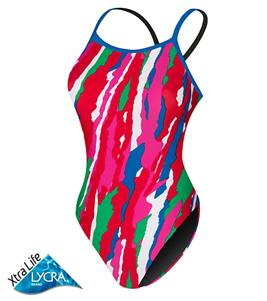 Sporti Paint Collage Thin Strap Swimsuit At SwimOutlet.com