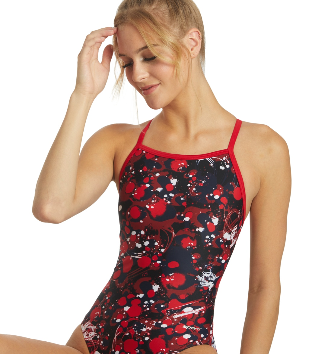 740846a2f12 Sporti Paint Splatter Thin Strap One Piece Swimsuit at SwimOutlet.com