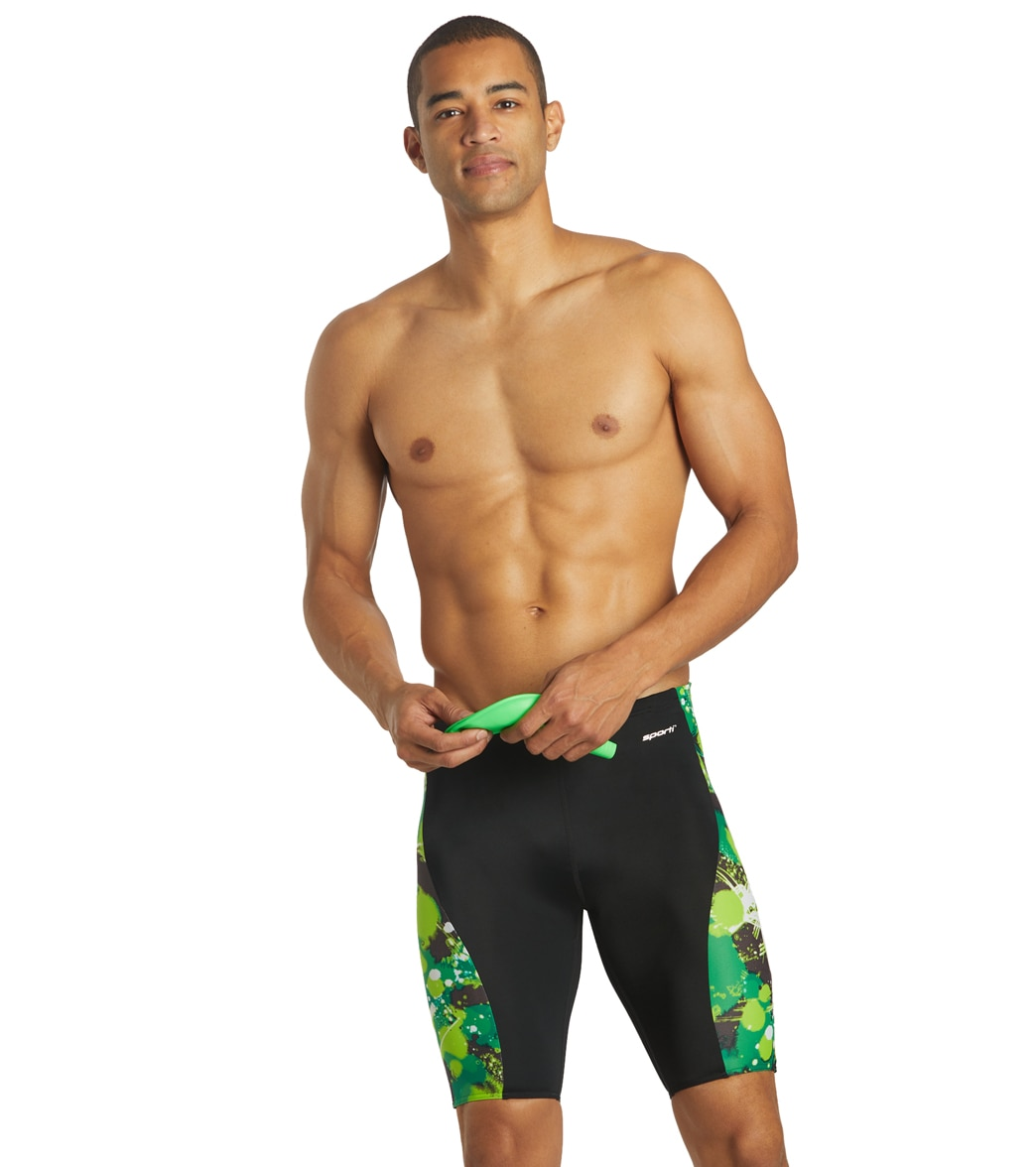 Sporti Paint Splatter Piped Splice Jammer Swimsuit