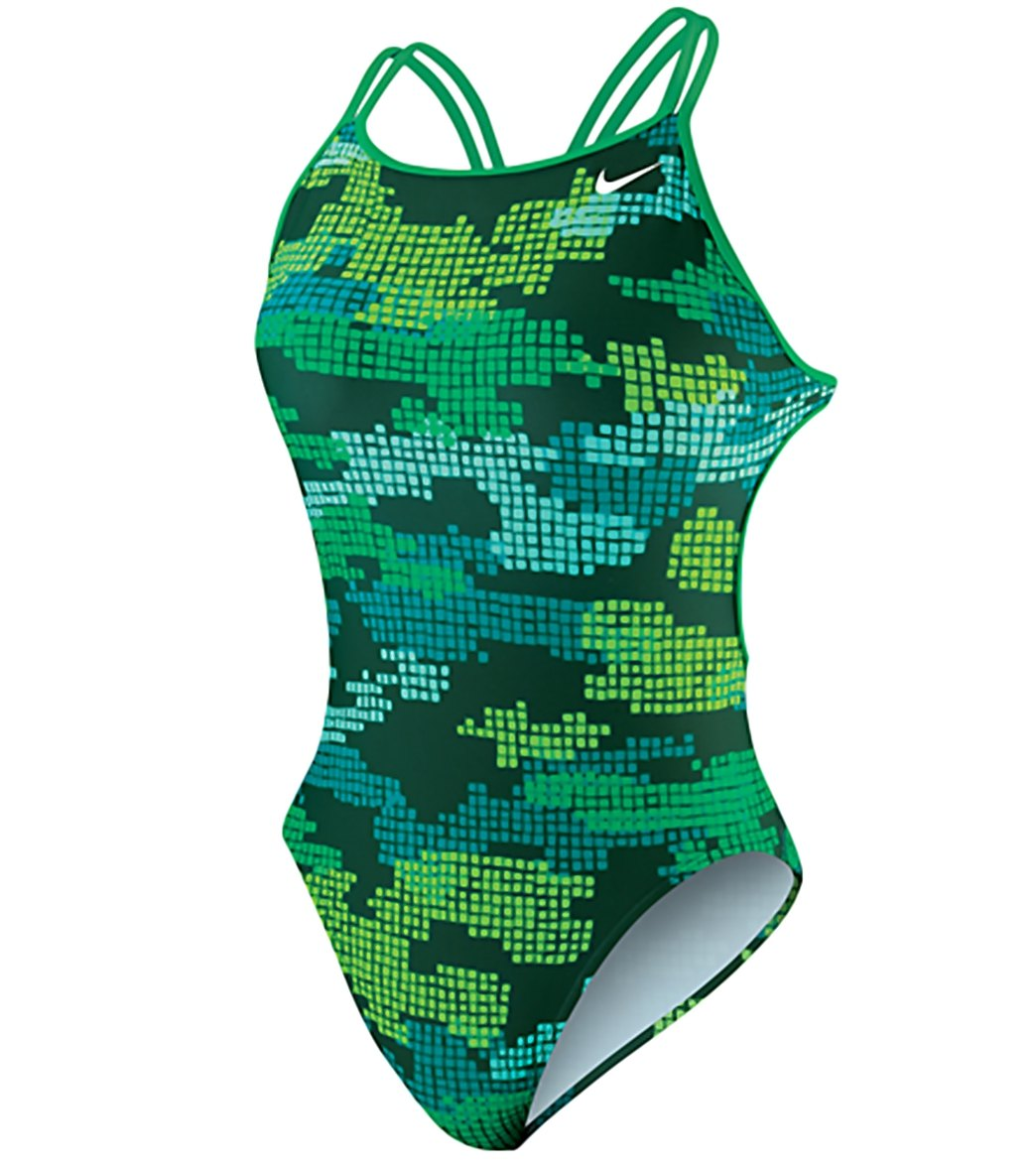 12a420225c2 Nike Swim Tech Camo Spider Back One Piece Tank Swimsuit at ...