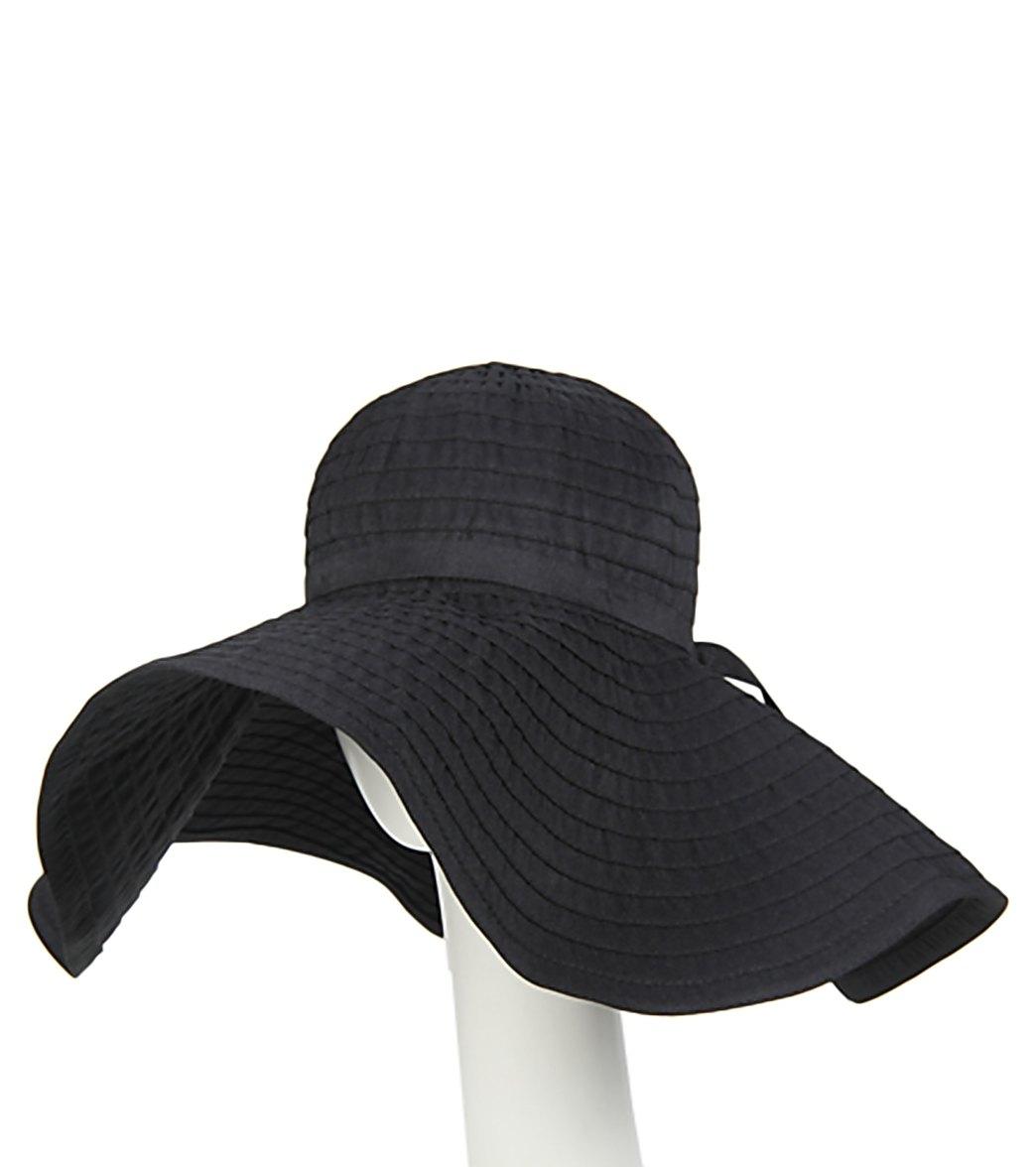 NEW LARGE BRIM Ribbon SunHat---Summer Hat----Cruise Sunhat....blackwhite color....