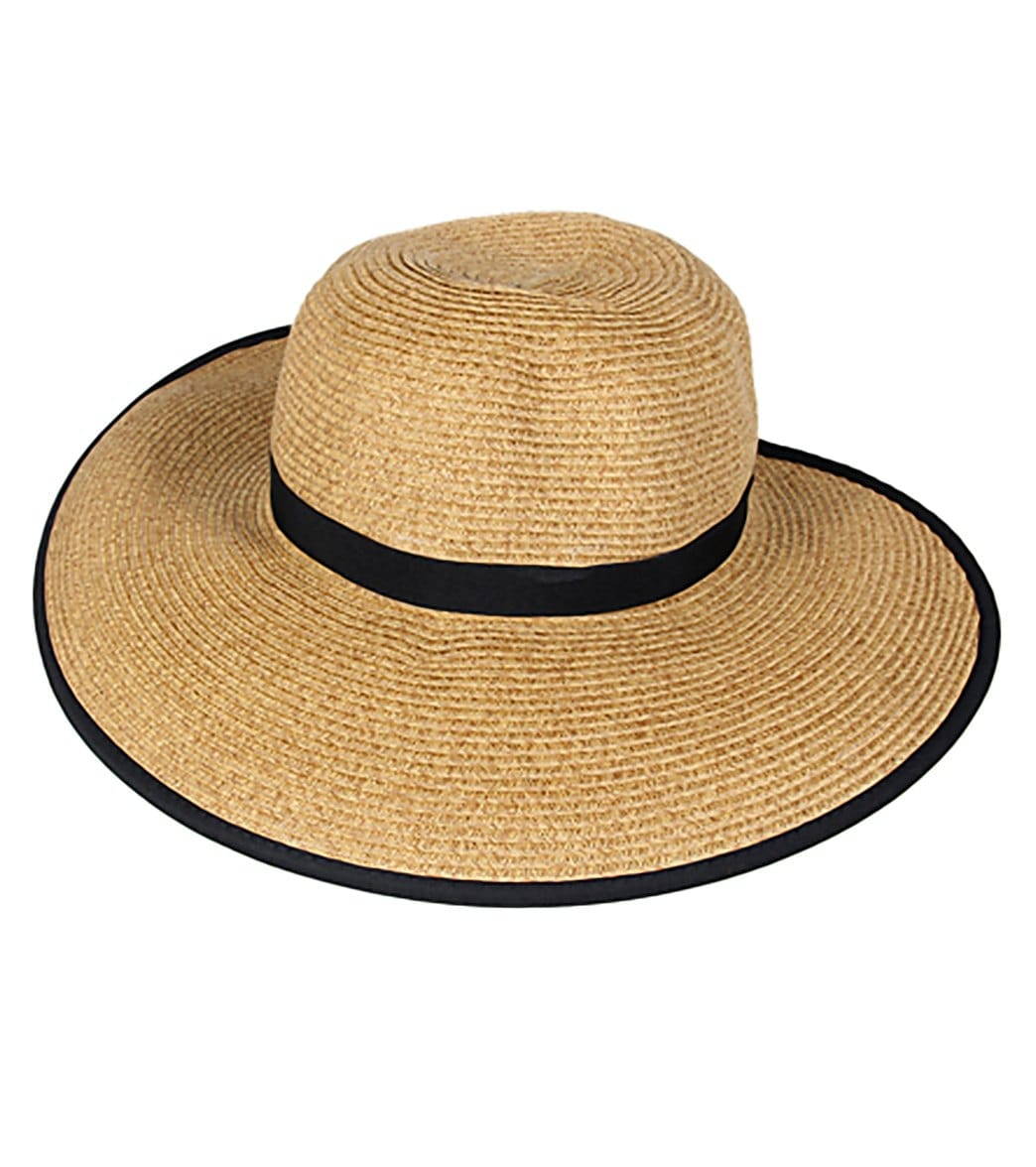 00416fc5 Sun N Sand French Laundry Ribbon Trim Straw Hat at SwimOutlet.com