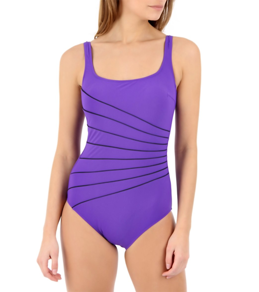 923f9551869ca Gottex Ray of Light Square Neck One Piece Swimsuit at SwimOutlet ...