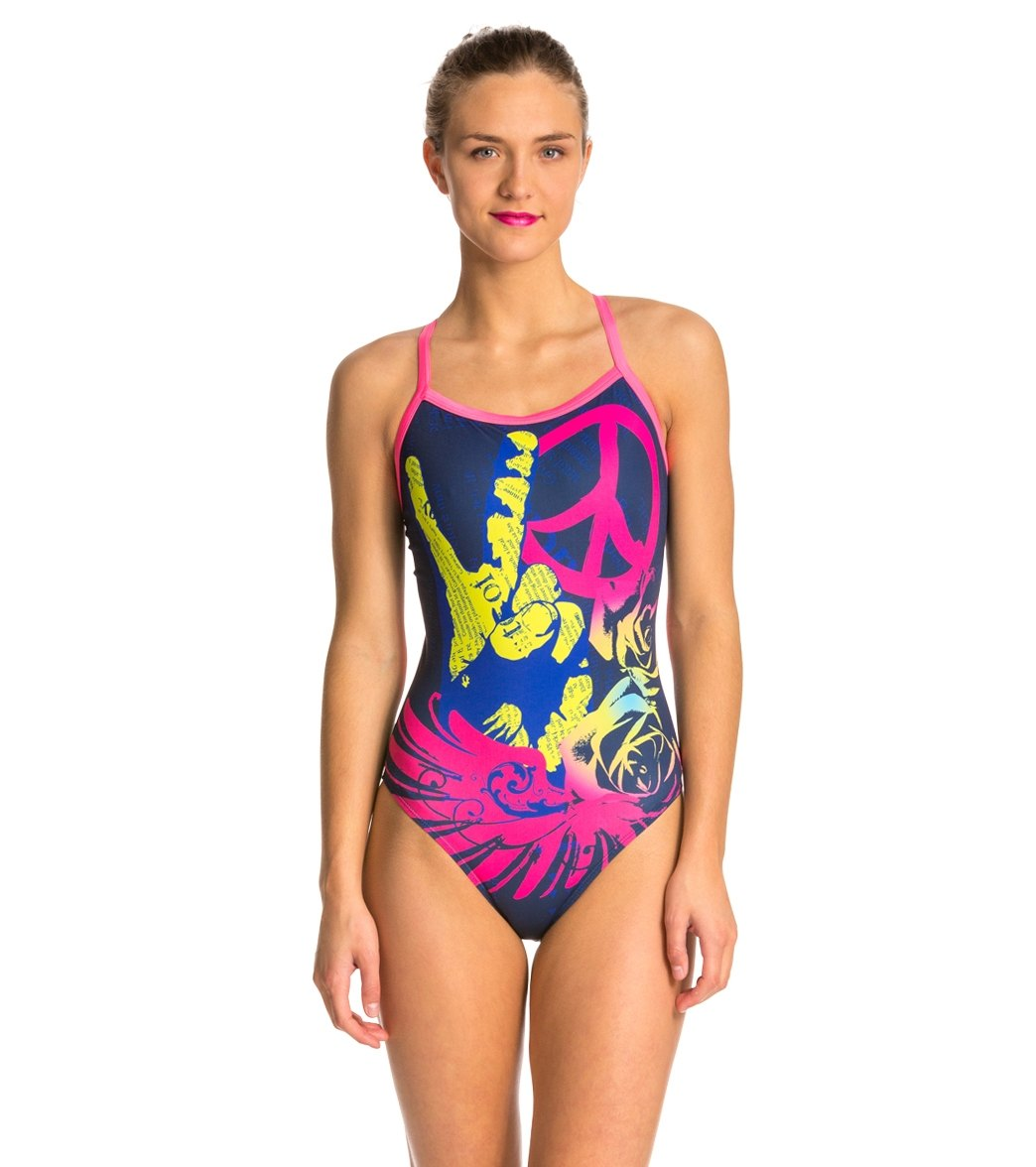 17cb09ad046 HARDCORESPORT Women's Peace X-Back One Piece Swimsuit at SwimOutlet.com -  Free Shipping