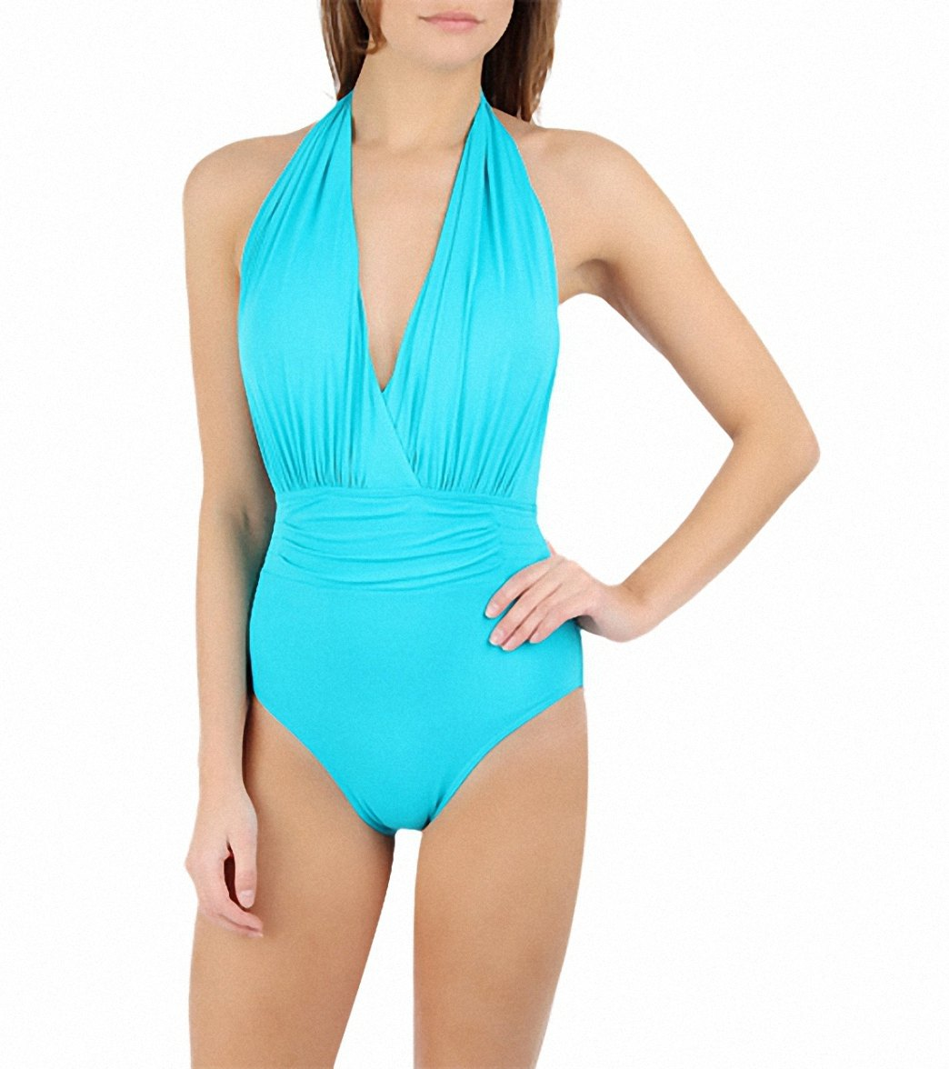 bfecb525c09 Calvin Klein Womens Halter One Piece Swimsuit at SwimOutlet.com ...