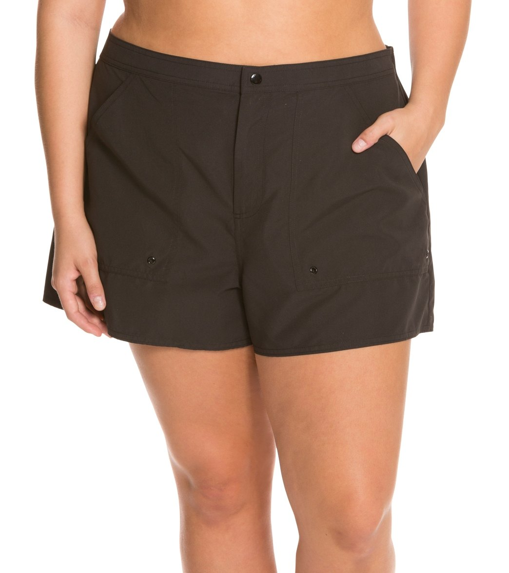 db78f11429a Maxine Women s Plus Size Solid Woven Boardshort at SwimOutlet.com