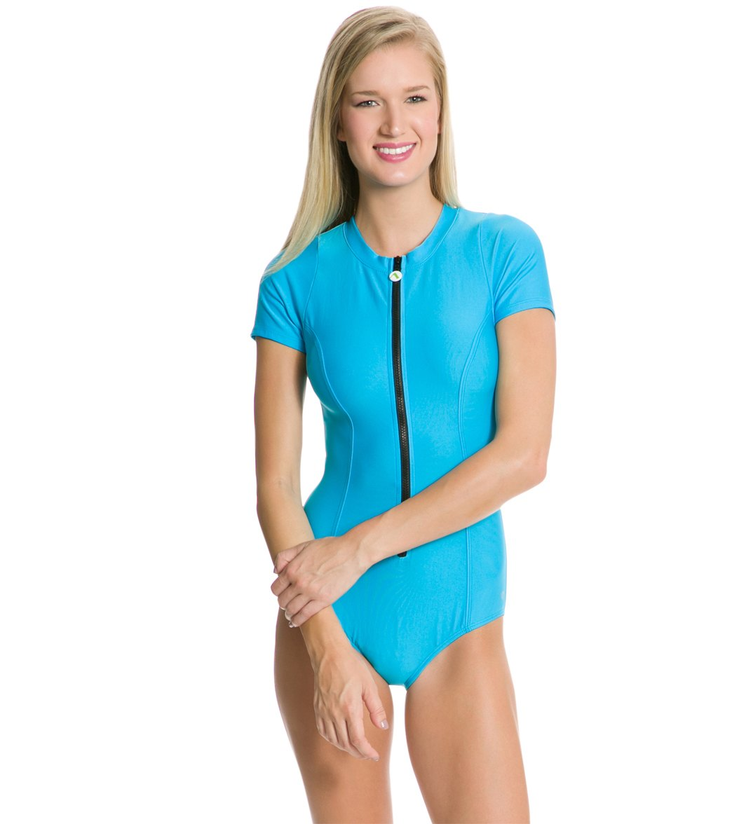 54ce7c9b86 Next Good Karma Solid Malibu Zip Short Sleeve One Piece Swimsuit at  SwimOutlet.com - Free Shipping